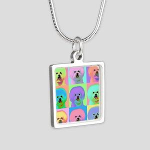 Op Art Bichon Silver Square Necklace