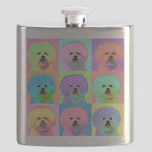Op Art Bichon Flask