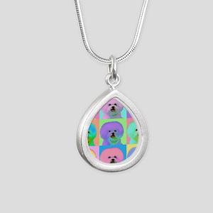 Op Art Bichon Silver Teardrop Necklace