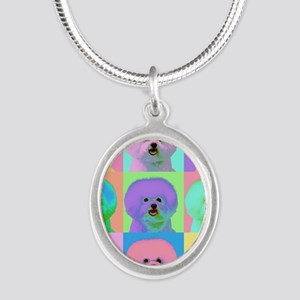 Op Art Bichon Silver Oval Necklace