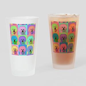 Op Art Bichon Drinking Glass