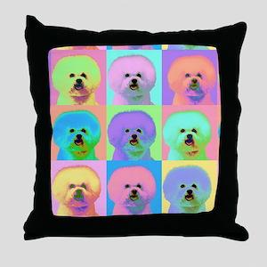 Op Art Bichon Throw Pillow