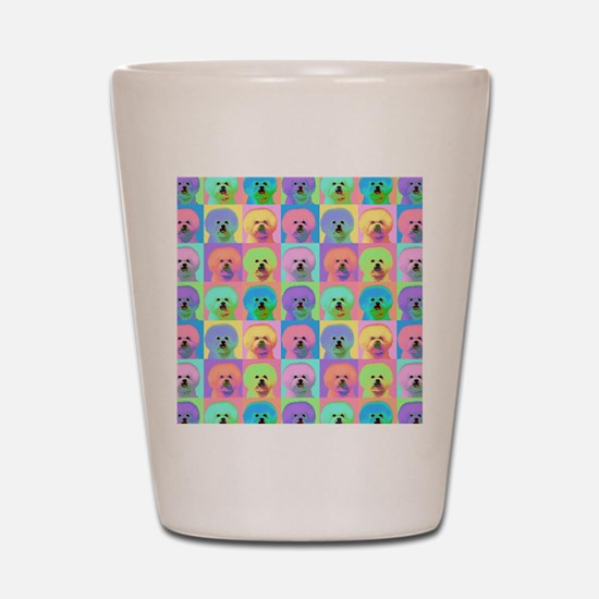 Op Art Bichon Shot Glass