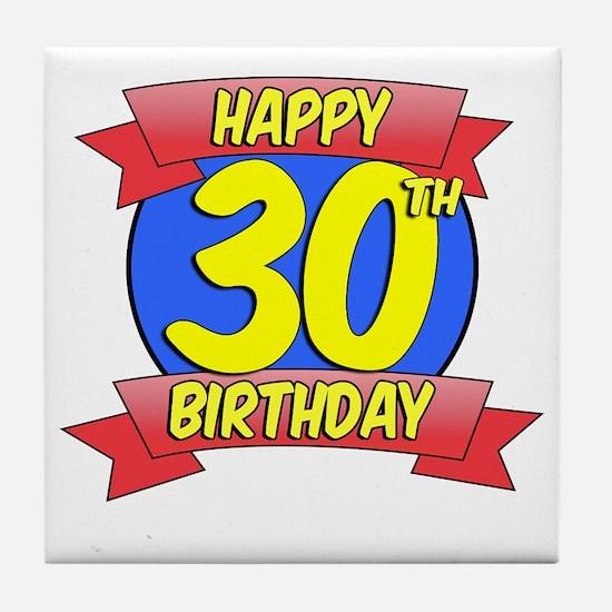 Happy 30th Birthday Balloon Tile Coaster