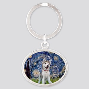 Starry-Siberian pup Oval Keychain