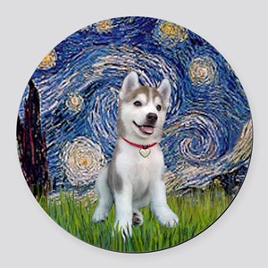 Starry-Siberian pup Round Car Magnet
