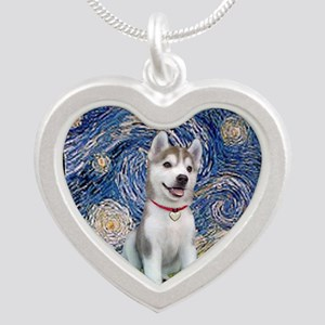 Starry-Siberian pup Silver Heart Necklace