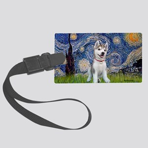 Starry-Siberian pup Large Luggage Tag