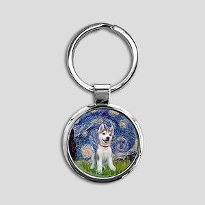 Starry-Siberian pup Round Keychain