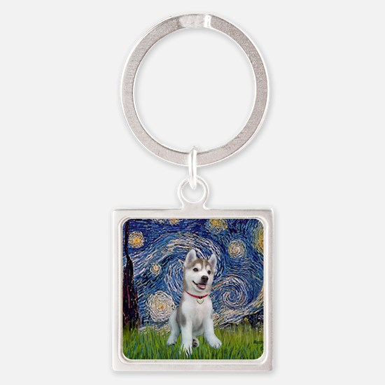Starry-Siberian pup Square Keychain