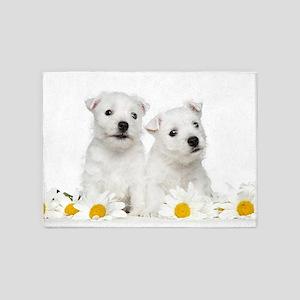 Westie Puppies 5'x7'Area Rug