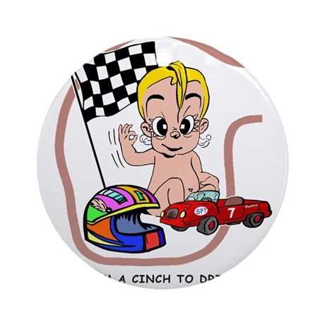 Race Car driver - blonde Ornament (Round)