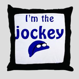 1-ImTheJockey-blue-TRANSP Throw Pillow