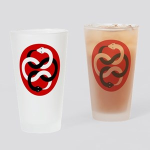 Double Oroborous-Red Drinking Glass