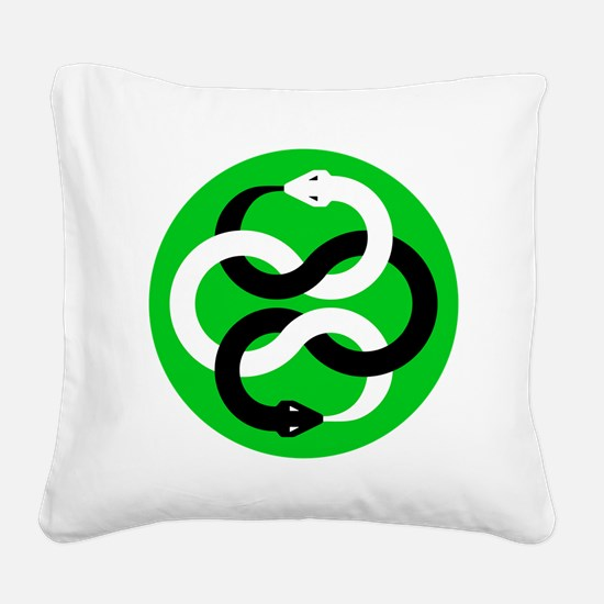 Double Oroborous (Green) Square Canvas Pillow