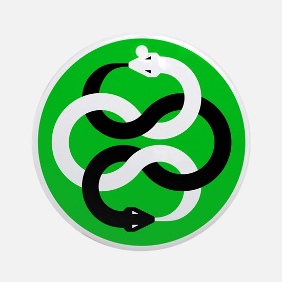 Double Oroborous (Green) Round Ornament