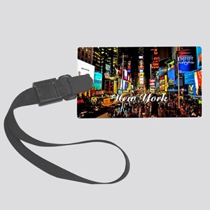 NY_5x3oval_sticker_TimesSquare Large Luggage Tag