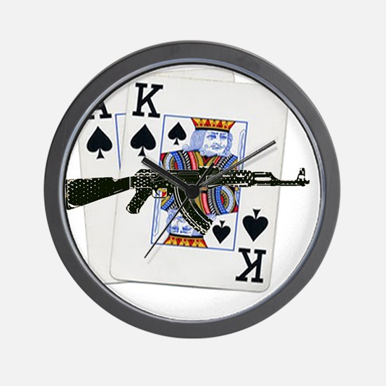 Ace King Spades with AK 47 Wall Clock