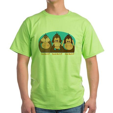 See,Speak,Hear No Evil Green T-Shirt