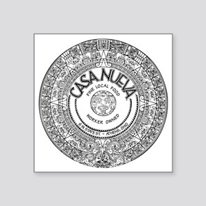 "Black Aztec Calendar Logo Square Sticker 3"" x 3"""