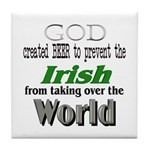 God, The Irish & Beer Tile Coaster
