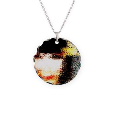 Fluid Face Necklace Circle Charm