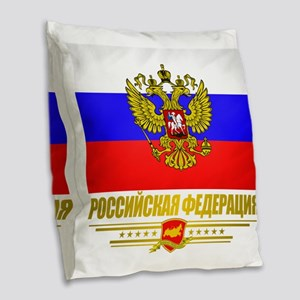 Russian Flag  COA Burlap Throw Pillow