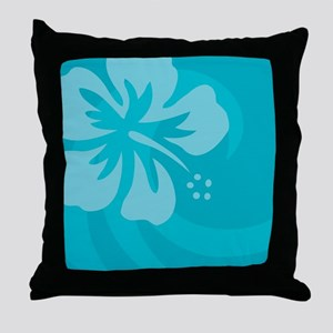 Hibiscus Light Blue Car Magnet Throw Pillow