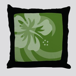 Hibiscus Dark Green Car Magnet Throw Pillow