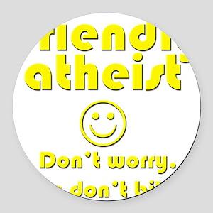 friendly-atheist-nobite-dark Round Car Magnet