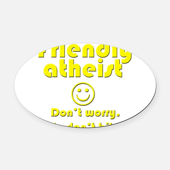 friendly-atheist-nobite-dark.png Oval Car Magnet