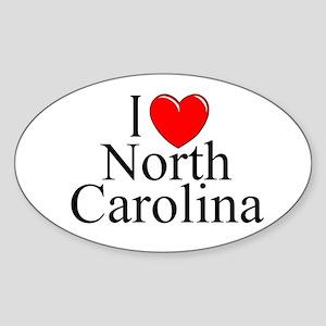 """""""I Love North Carolina"""" Oval Sticker"""