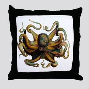 Colorful Octopus Swirling Tentacles Throw Pillow