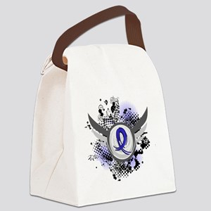 D Blue Ribbon With Wings Rheumato Canvas Lunch Bag