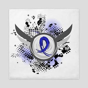 D Blue Ribbon With Wings Arthritis Queen Duvet