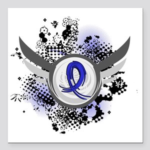 "D Blue Ribbon With Wings Square Car Magnet 3"" x 3"""