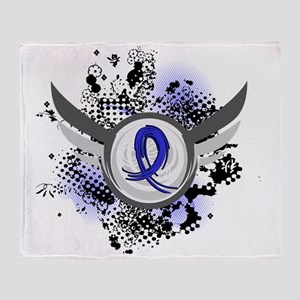 D Blue Ribbon With Wings CFS Throw Blanket