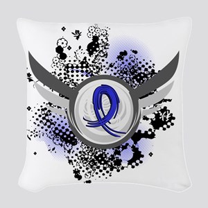 D Blue Ribbon With Wings Colon Woven Throw Pillow