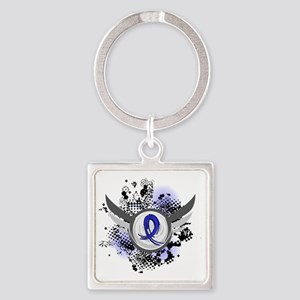 D Blue Ribbon With Wings Colon Can Square Keychain