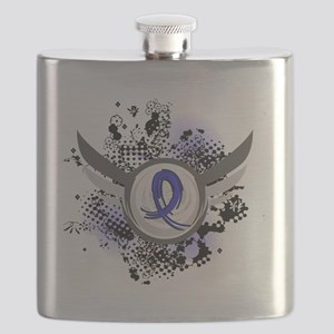D Blue Ribbon With Wings Colon Cancer Flask