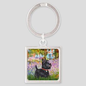Garden-Scottish Terrier Square Keychain
