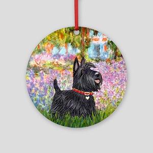 Garden-Scottish Terrier Round Ornament
