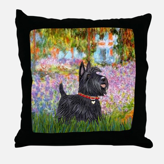 Garden-Scottish Terrier Throw Pillow