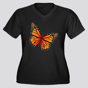 monarch-butt Women's Plus Size Dark V-Neck T-Shirt
