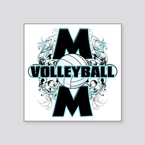 "Volleyball Mom (cross) Square Sticker 3"" x 3"""