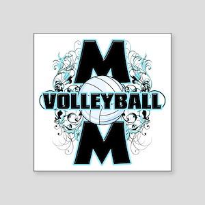 "Volleyball Mom (cross) Square Sticker 3"" x 3"""