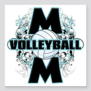 "Volleyball Mom (cross) Square Car Magnet 3"" x 3"""
