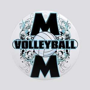 Volleyball Mom (cross) Round Ornament