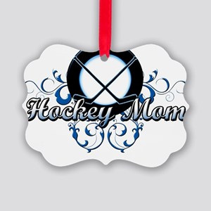 Hockey Mom (puck) Picture Ornament