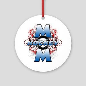 Hockey Mom (cross) Round Ornament